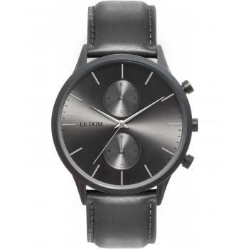 LE DOM Prime Chronograph - LD.1002-15, Black case with Grey Leather Strap