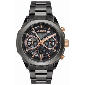 LE DOM Skeleton - LD.1095-10, Black case with Stainless Steel Bracelet