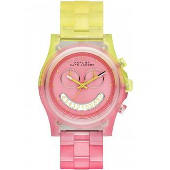 MARC BY MARC JACOBS Pink Face - MBM4576, Pink & Yellow case with Pink & Yellow Plastic Bracelet
