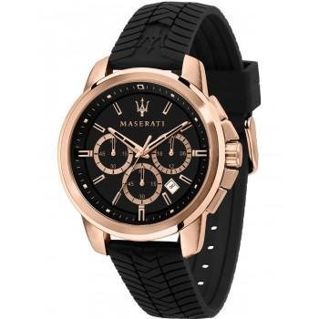 MASERATI Successo Chronograph - R8871621012, Rose Gold case with Black Rubber Strap