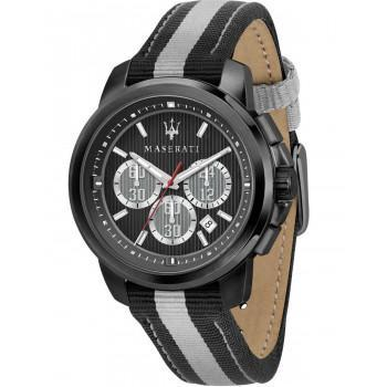 MASERATI Royale Chronograph  - R8871637002  Black case with Black Leather & Fabric Strap