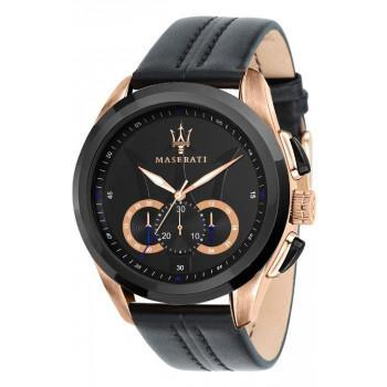 MASERATI Traguardo Chronograph - R8871612025  Rose Gold case with Black Leather Strap