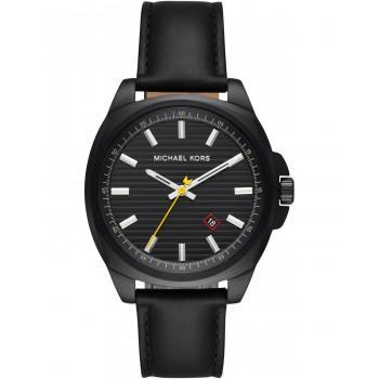MICHAEL KORS Bryson Mens - MK8632, Black case  with Black Leather Strap