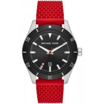 MICHAEL KORS Layton - MK8820, Silver case with Red Rubber Strap