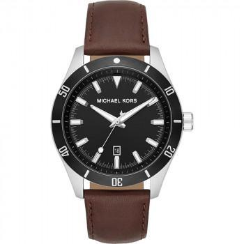 MICHAEL KORS Layton - MK8859, Silver case with Brown Leather Strap