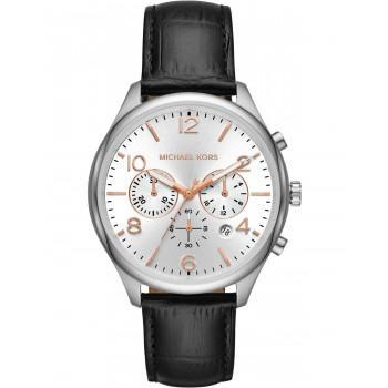 MICHAEL KORS Merrick  Chronograph - MK8635, Silver case  with Black Leather Strap