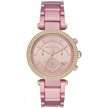 MICHAEL KORS Parker Crystals Chronograph - MK6806,  Pink  case with Stainless Steel Bracelet