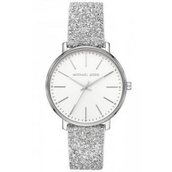 MICHAEL KORS Pyper Crystals - MK2877,  Silver case with Silver Leather Strap