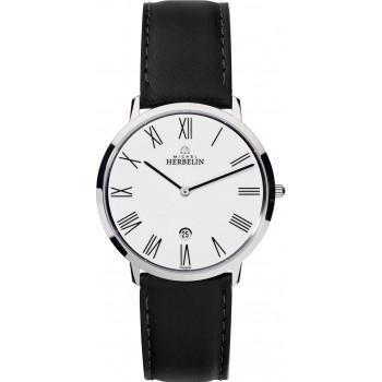 MICHEL HERBELIN Citadines - MH19515-01, Silver case with Black Leather Strap