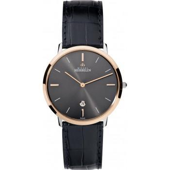 MICHEL HERBELIN City - MH19515-TR22, Rose Gold case with Black Leather Strap
