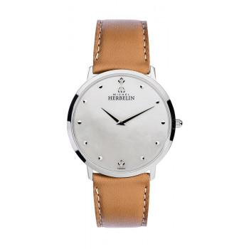 MICHEL HERBELIN Classic Zircon - MH17415-59GO, Silver case with Brown Leather Strap