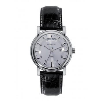 MICHEL HERBELIN Equinox - MH1864311 Silver Case with Black Leather Strap