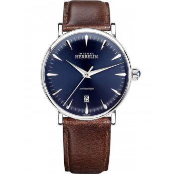 MICHEL HERBELIN Inspiration Automatic  - MH1647-AP15BR, Silver case with Brown Leather Strap