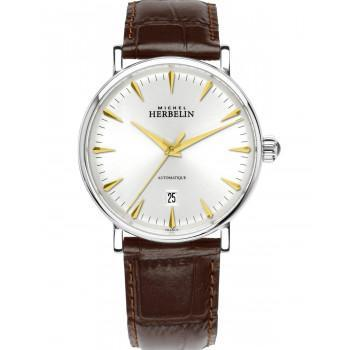 MICHEL HERBELIN Inspiration Automatic  - MH1647-T11MA, Silver case with Brown Leather Strap