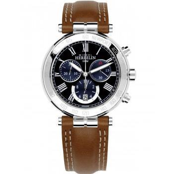 MICHEL HERBELIN Newport Classic Chrono - MH37654-AP04GO, Silver case with Brown Leather Strap