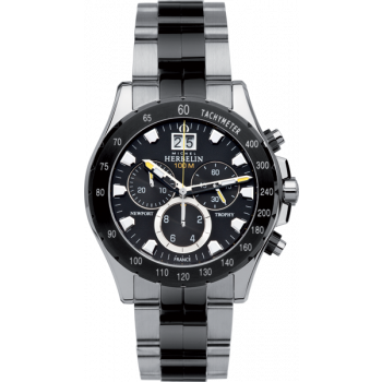 MICHEL HERBELIN Newport - MH366670BNA-14 Silver-Black Case with Silver-Black Bracelet