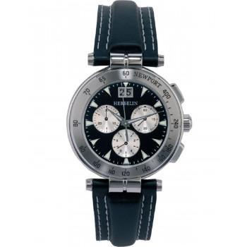 MICHEL HERBELIN Newport Yacht Club Chronograph  - MH34472-TRB19, Silver case with Black Leather Strap