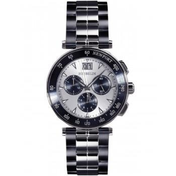 MICHEL HERBELIN Newport Yacht Club Chronograph  - MH36697-BLA42, Silver case with Stainless Steel Bracelet