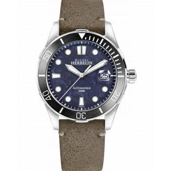 MICHEL HERBELIN Trophy Automatic  - MH1660-AN45TER, Silver case with Brown Leather Strap