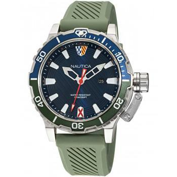 NAUTICA  GLENROCK LAGOON -  NAPGLS113  Silver case  with Olive Green Rubber Strap