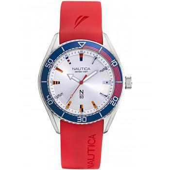 NAUTICA N83 -  NAPFWS002  Silver case  with Red Rubber Strap
