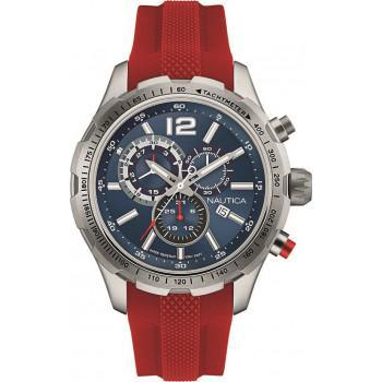 NAUTICA NST 30 -  NAP30LE03 Silver case  with Red Rubber Strap