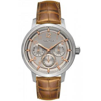 NAUTICA NTC15 Multi II - NAD13544G , Silver case, with Brown Leather Strap