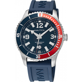 NAUTICA Pacific Beach Flag Date Collection  -  NAPPBS159  Silver case  with Blue Rubber Strap