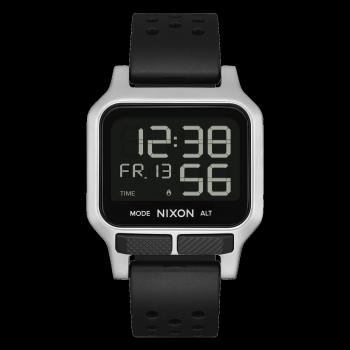 NIXON Heat - A1320-130-00,  Silver  case with Black Rubber Strap