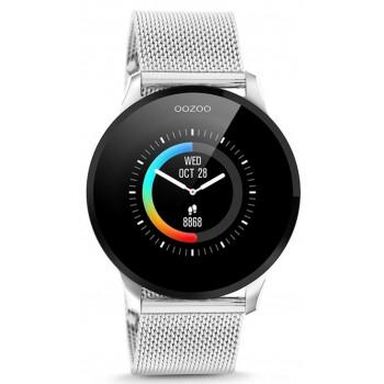 OOZOO Smartwatch -  Q00116,  Silver case with Silver Metal Strap