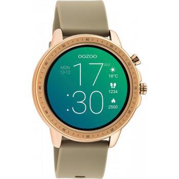 OOZOO Smartwatch -  Q00302, Rose Gold case with Grey Rubber Strap