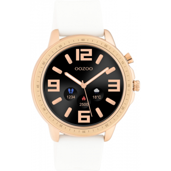 OOZOO Smartwatch -  Q00322,  Rose Gold case with White Rubber Strap