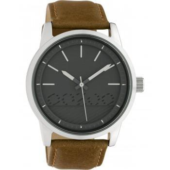 OOZOO Timepieces  - C10305 , Silver case with Brown Leather Strap