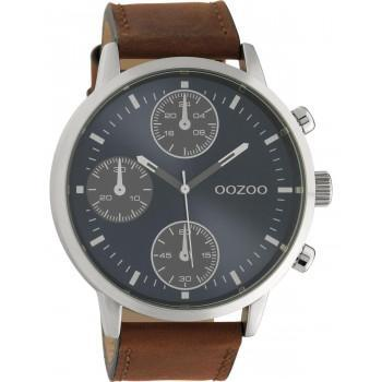 OOZOO Timepieces - C10665, Silver case with Brown Leather Strap