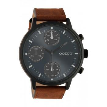 OOZOO Timepieces - C10666, Black case with Brown Leather Strap