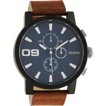 OOZOO Timepieces - C10672, Black case with Brown Leather Strap