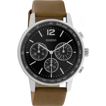 OOZOO Timepieces - C10812, Silver case with Brown Leather Strap