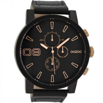 OOZOO Timepieces  -  C9034, Black case with Black Leather Strap