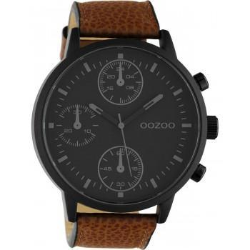 OOZOO Timepieces XXL - C10533,  Black case with Brown Leather Strap