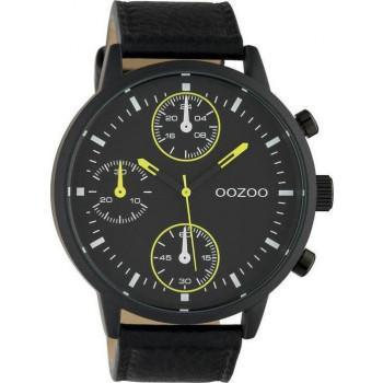 OOZOO Timepieces XXL - C10534,  Black case with Black Leather Strap