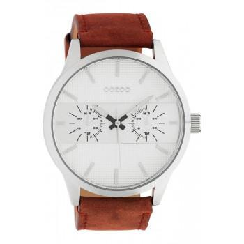 OOZOO Timepieces XL - C10535, Silver case with Brown Leather Strap