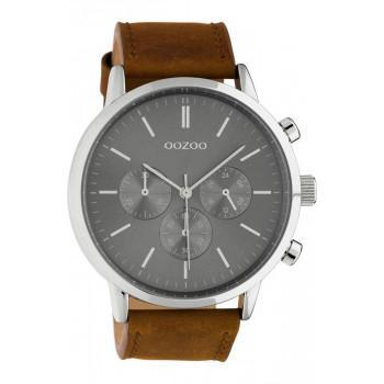 OOZOO Timepieces XL - C10541, Silver case with Brown Leather Strap