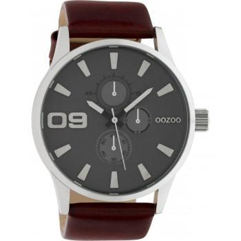 OOZOO Timepieces XXL - C10348, Silver case with Brown Leather Strap