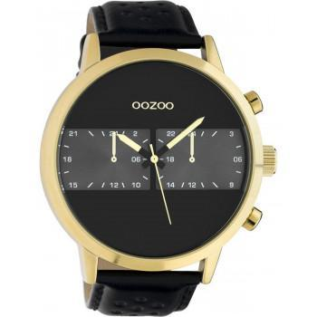 OOZOO Timepieces XXL - C10516, Gold case with Black Leather Strap