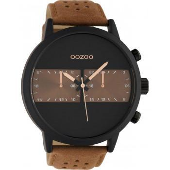 OOZOO Timepieces XXL - C10518, Black case with Brown Leather Strap