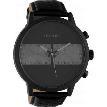 OOZOO Timepieces XXL - C10519, Black case with Black Leather Strap