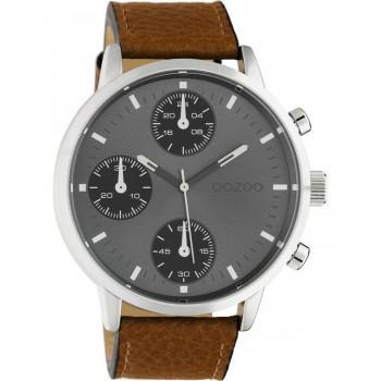 OOZOO Timepieces XXL - C10530, Silver case with Brown Leather Strap