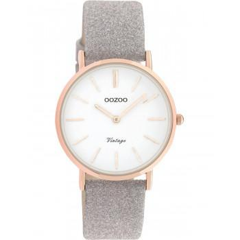 OOZOO Vintage - C20158, Rose Gold case with Grey Leather Strap