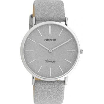 OOZOO Vintage - C20160, Silver case with Silver Leather Strap