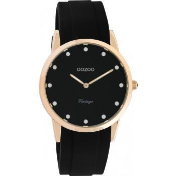 OOZOO Vintage - C20179, Rose Gold case with Black Rubber Strap